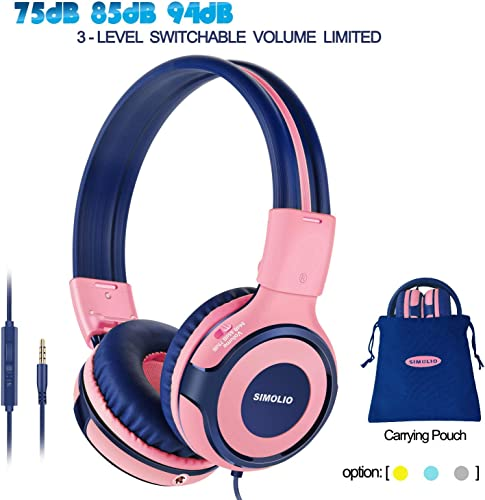 SIMOLIO Kids Headphones with 94dB,85dB,75dB Volume Limited Share Jack, Headphones for Girls with Mic, Durable Children Headphones with Safe Volume, On-Ear Kids Headsets for Gift School Plane Pink