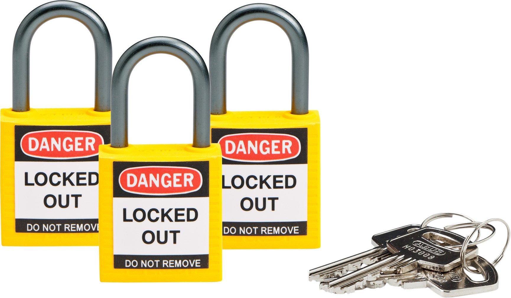 Brady 118961 Yellow, Brady Compact Safety Lock - Keyed Alike (3 Locks)