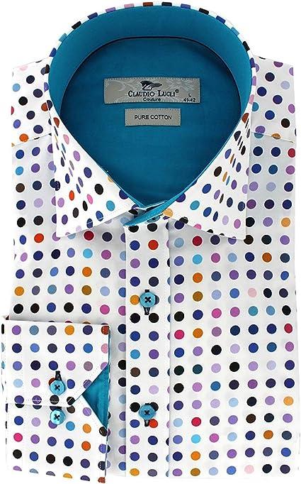 Claudio Lugli - Camisa casual - Lunares - para hombre blanco ...