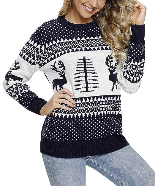 Aleumdr Mujer Suéter de Navidad Pullover de Punto Mangas largas Jersey  Cuello Redondo para Mujer Size S-XXL  Amazon.es  Ropa y accesorios 459d897c1b7b