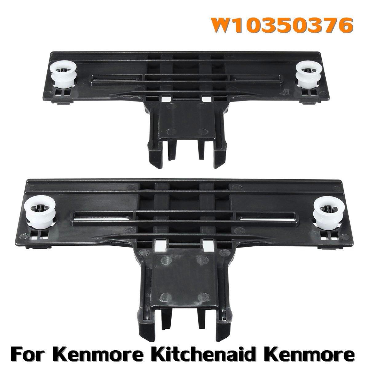 MAYITOP 2Pcs W10350376 Dishwasher Upper Rack Adjuster Kit for Whirlpool Kitchenaid Kenmore,W10253546, AP5272176, PS3497383