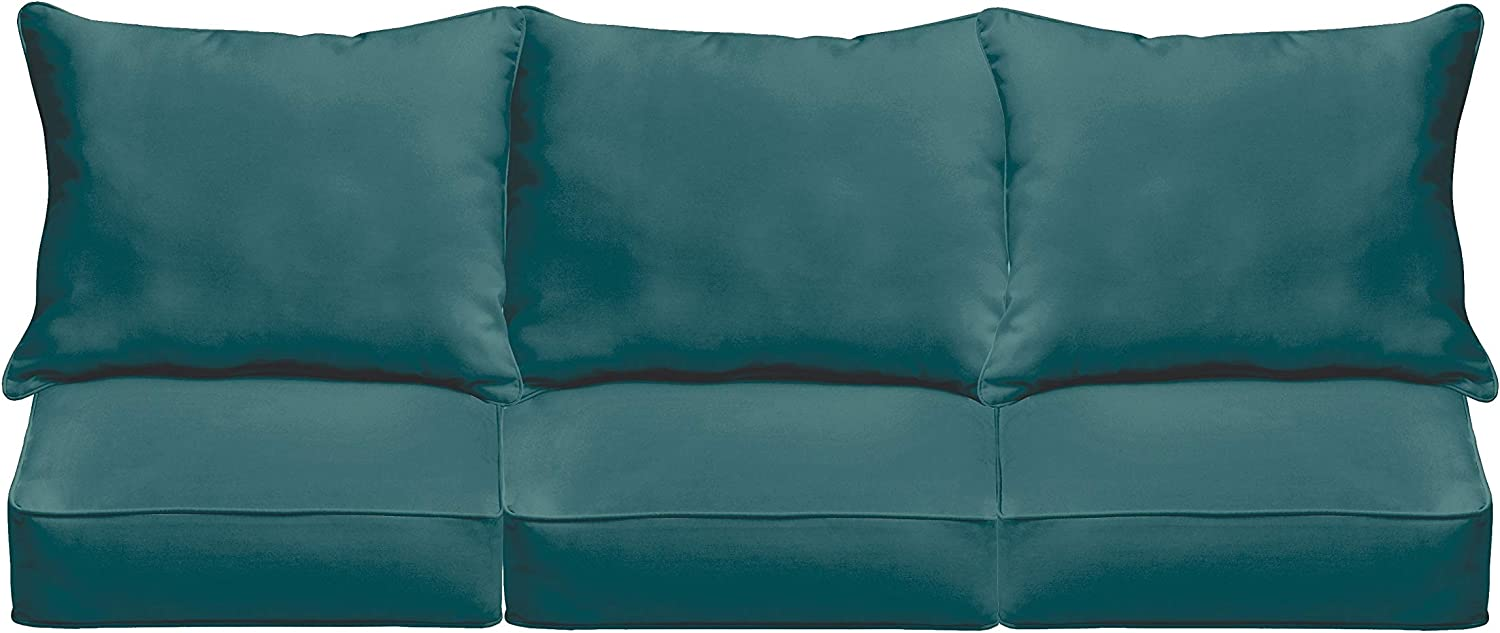 Humble And Haute Sloane Teal 23 5 Inch Indoor Outdoor Corded Sofa Cushion Set Garden Outdoor