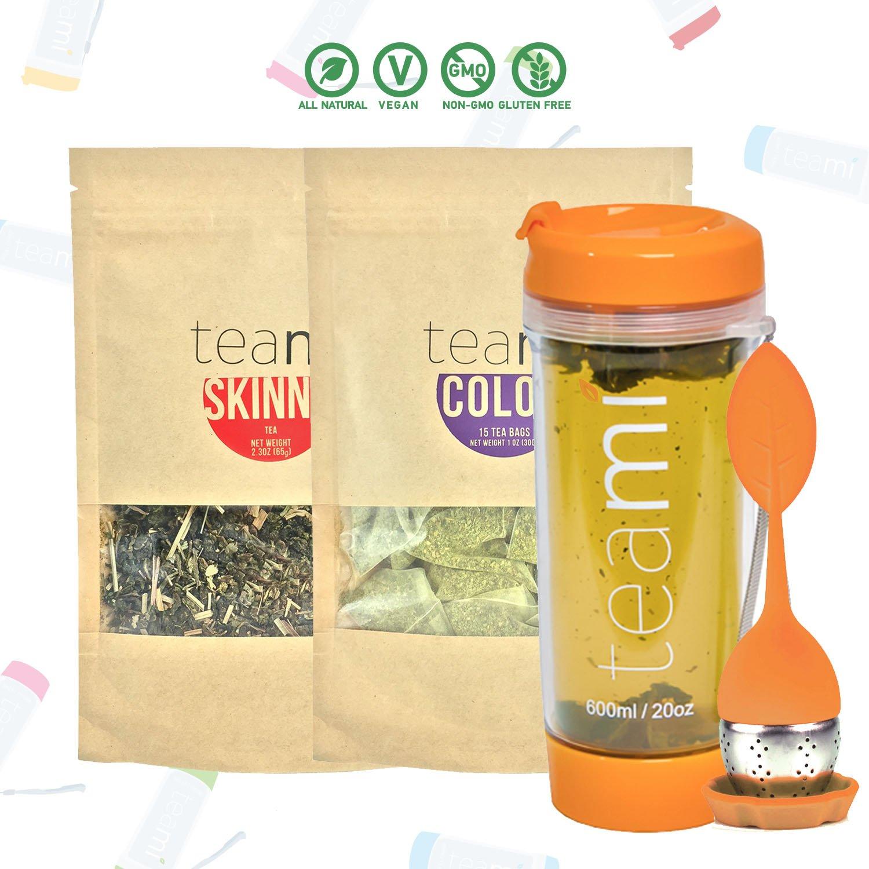 Teami® 30-Day Detox Tea Starter Pack: All-Natural Teatox Kit with Teami Skinny & Teami Colon Cleanse Loose Leaf Herbal Teas (w/20oz Orange Tumbler and Infuser) by Teami
