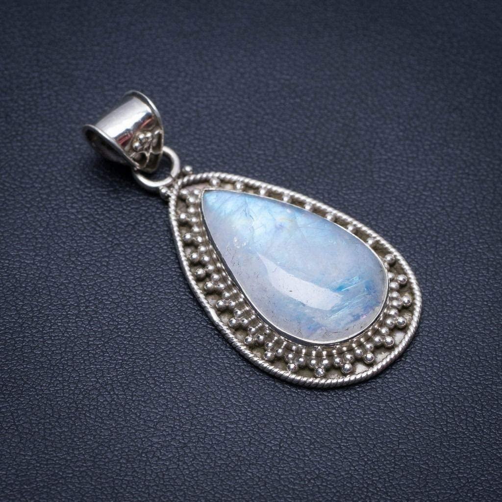 Natural Rainbow Moonstone Handmade Mexican 925 Sterling Silver Pendant 2 S0611