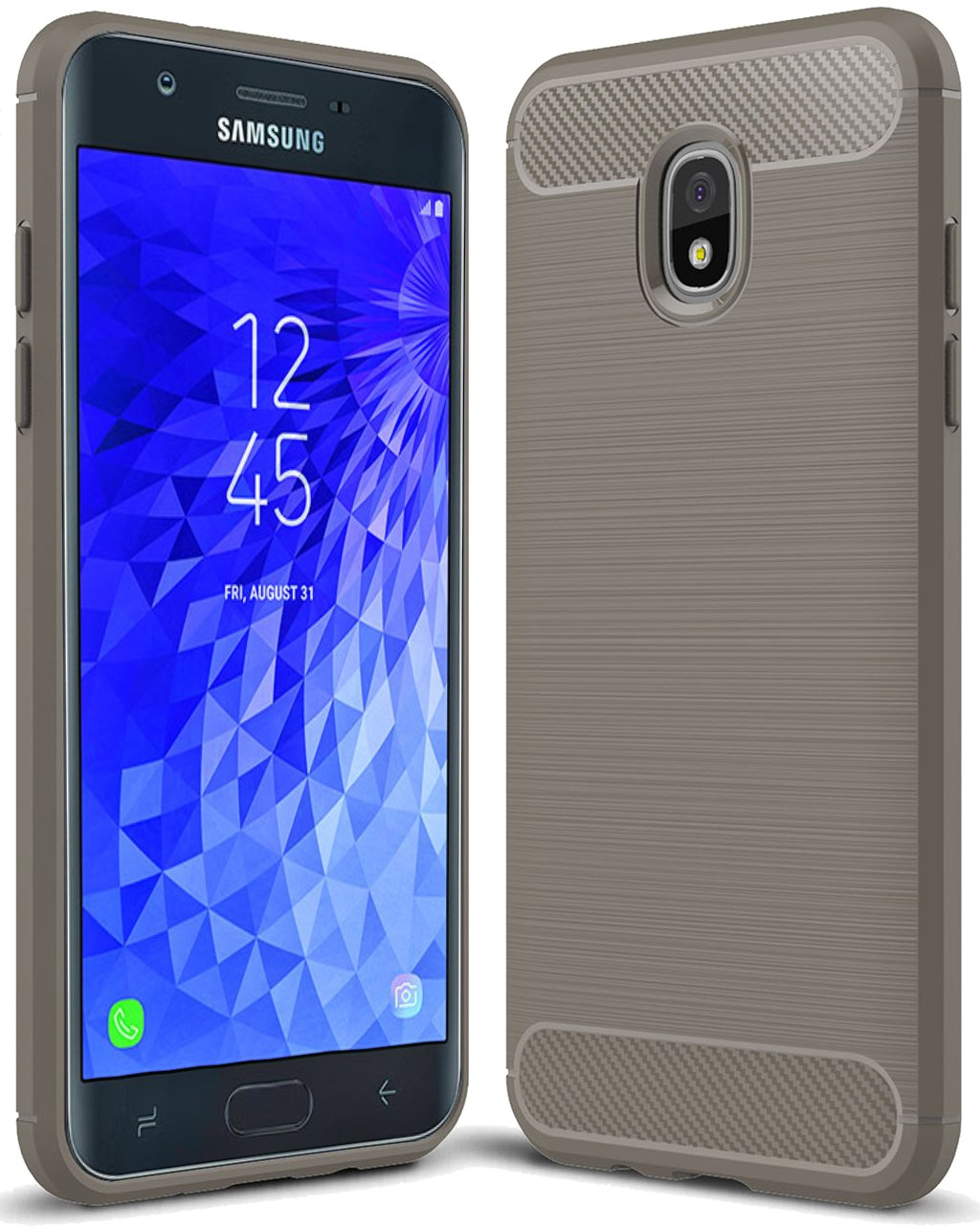 for Samsung Galaxy J7 2018 case, Galaxy J7 V 2nd Gen Case,Galaxy J7 Refine Case,Galaxy J7 Aero,J7 Star,J7 Top,J7 Crown,J7 Aura,J7 Eon,J737V,J737T Sucnakp TPU Protective Case Cover(TPU Gray)