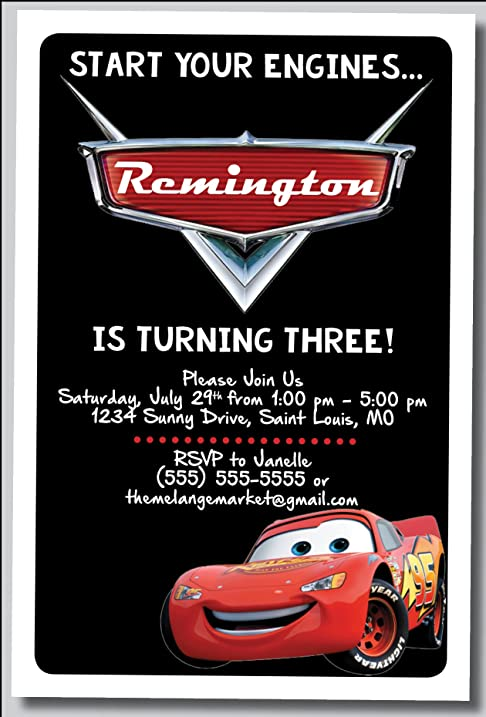 Amazon custom birthday party invitation lighting mcqueen custom birthday party invitation lighting mcqueen cars personalized 20 count filmwisefo