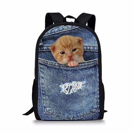 115d78703af7 Horeset Backpack Animal Print School Rucksack College for Kids Student Book  Bag (Cat 17 Backpack)