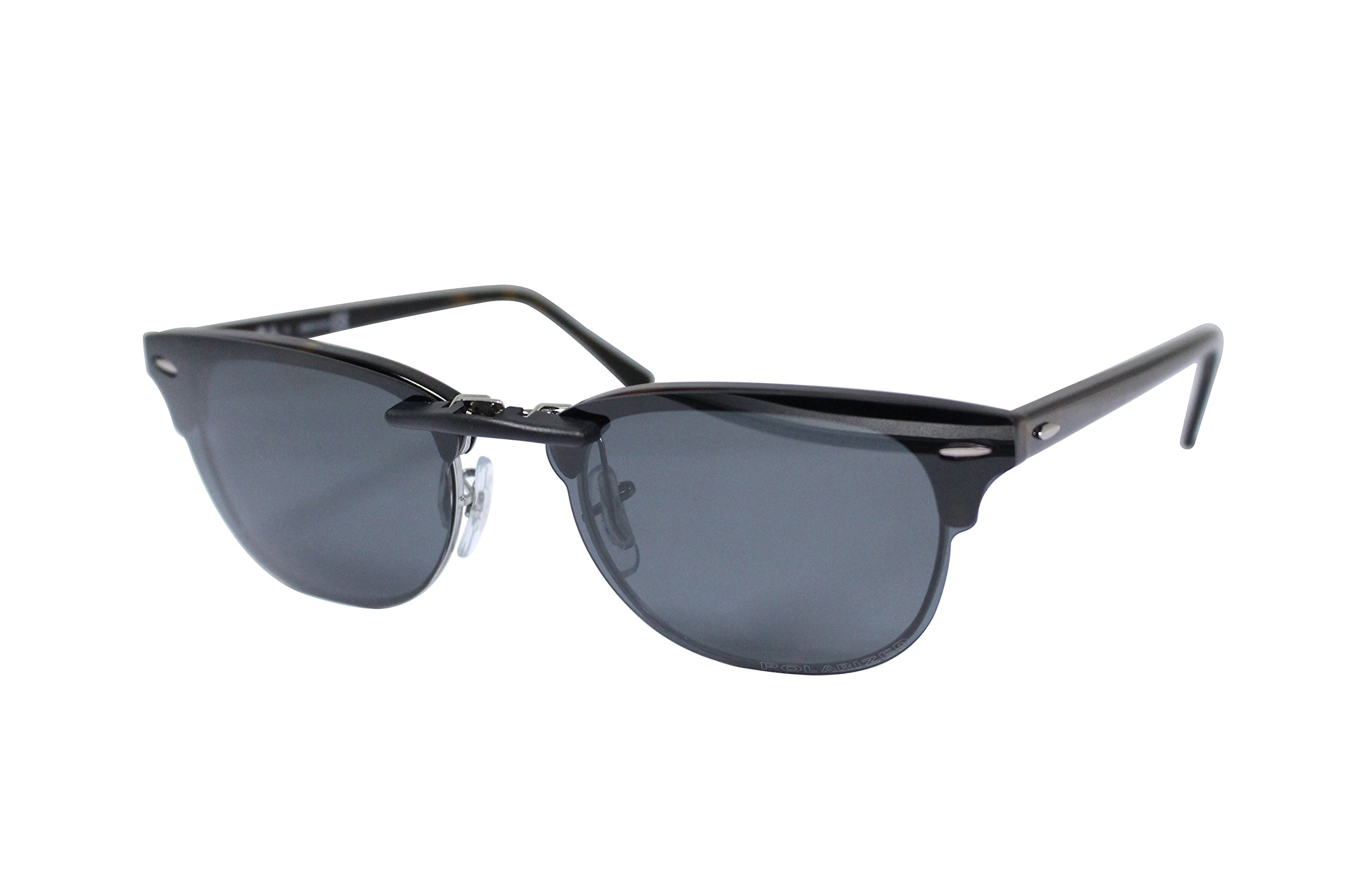 Custom Polarized Clip on Sunglasses For Ray-Ban CLUBMASTER RB5154 RX5154 51-21-145(Black)