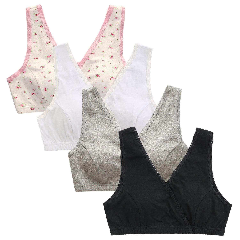 EMY Nursing Bra Maternity Bra 4 Pack Wrap Sleep Bra Maternity to Nursing Seamless Cotton (US L (Asian Tag LL) 1F1W1G1B)