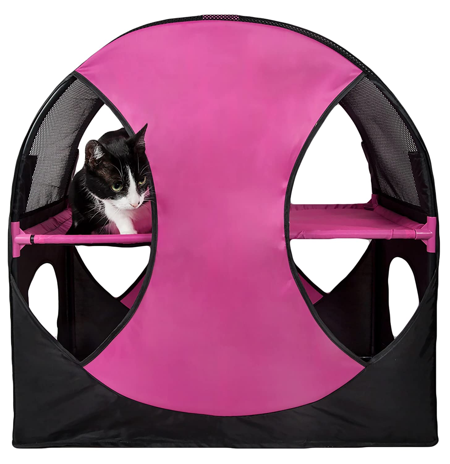 PET LIFE 'Kitty-Play' Collapsible Travel Interactive Kitty Cat Tree Maze House Lounger Tunnel Lounge, One Size, Pink and Black