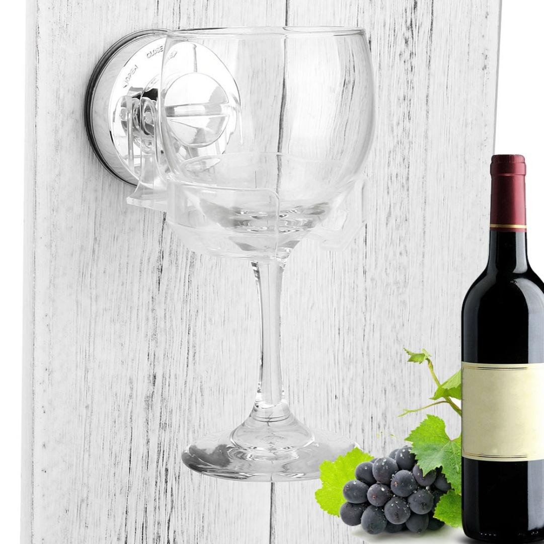 Bathtub Shower Wine Glass Holder, Wall Mount Hanging Rack,Bath & Shower Portable Suction Cupholder Caddy for Beer & Wine Sucker Cup Holder KingWo