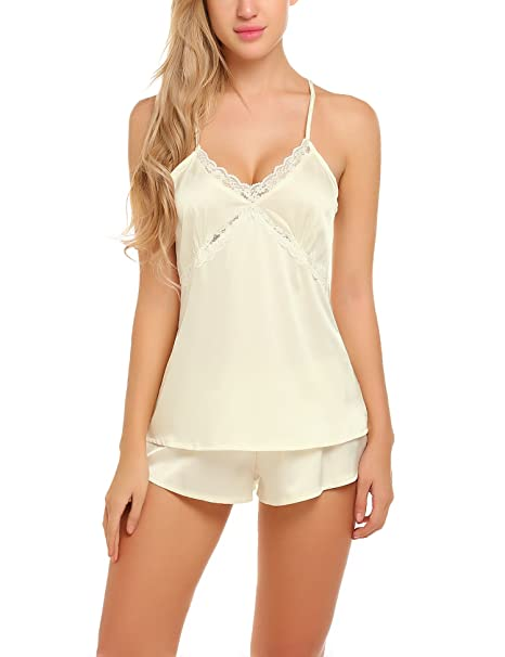 83cbd3bcb Ekouaer Sexy Satin Pajama Shorts Set Strappy Silk Sleepwear for ...