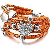 MunkiMix Edelstahl Glas Leder Armband Armreifen Orange Silber Ton Herz Magnet Schließe Verschluss Damen