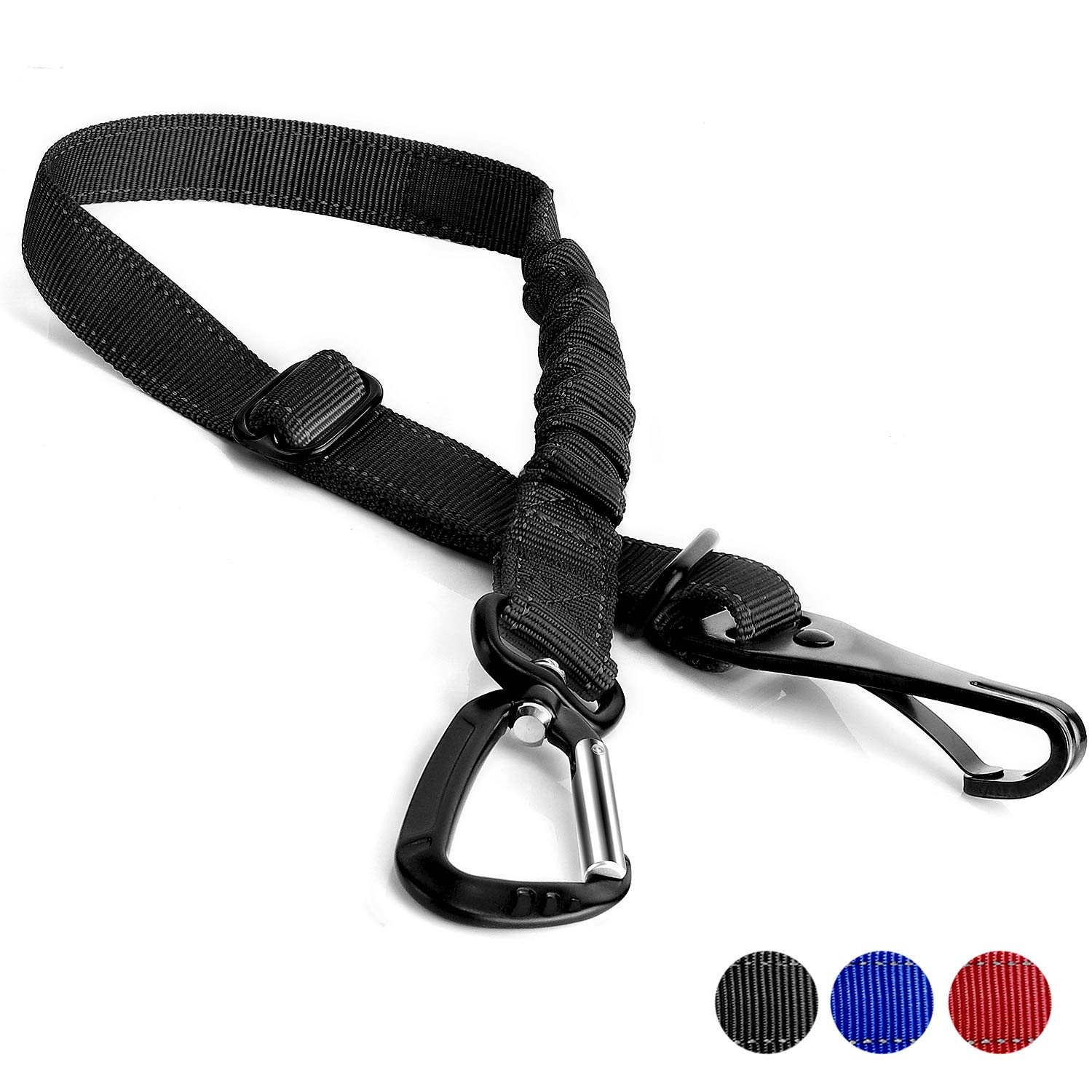 Toozey Dog Seat Belt, Adjustable Dog Car Seatbelt with Latch Bar Attachment and Heavy Duty Carabiner, Elastic Safety Belt Tether for Dog Harness, Pet Seat Belts for Small Medium Large Dogs