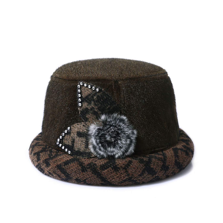 Fashion Winter Fedoras hat Rabbits Hair Fur Keep Warm caps Vintage Bowler Cap Flower Ornaments Hats
