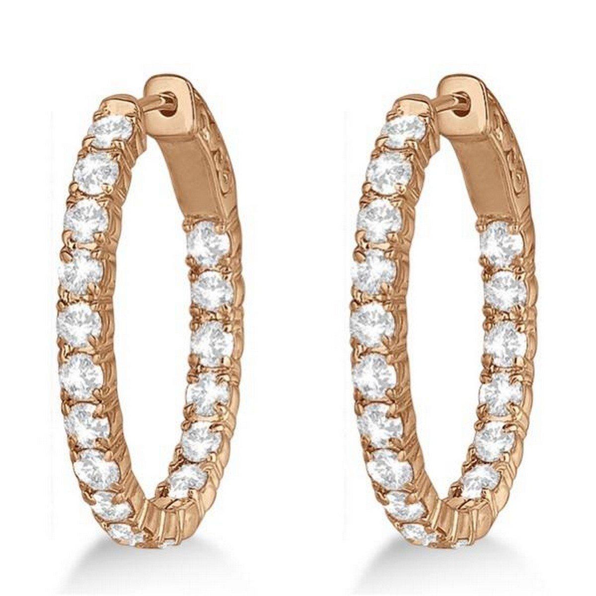 14k Gold Oval-Shaped Diamond Hoop Earrings 3.57ct
