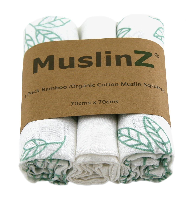 Muslinz Luxury Bamboo/Organic Cotton Muslin Squares (70 cm, White/Aqua Blue Leaf Print, Pack of 3) MUZBC-3L70B