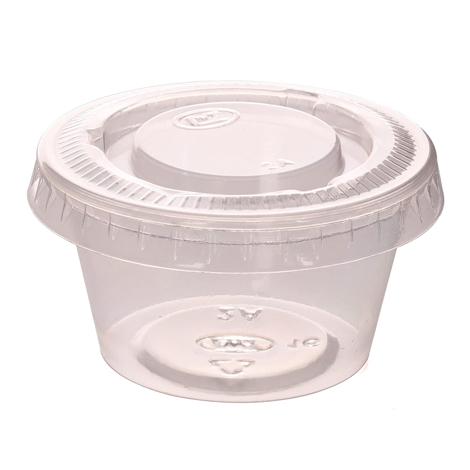 Zicome 2-Ounce Plastic Disposable Portion Cups Souffle Cups with Lids for Shots, Salad Dressings, Sauces, 100 Counts