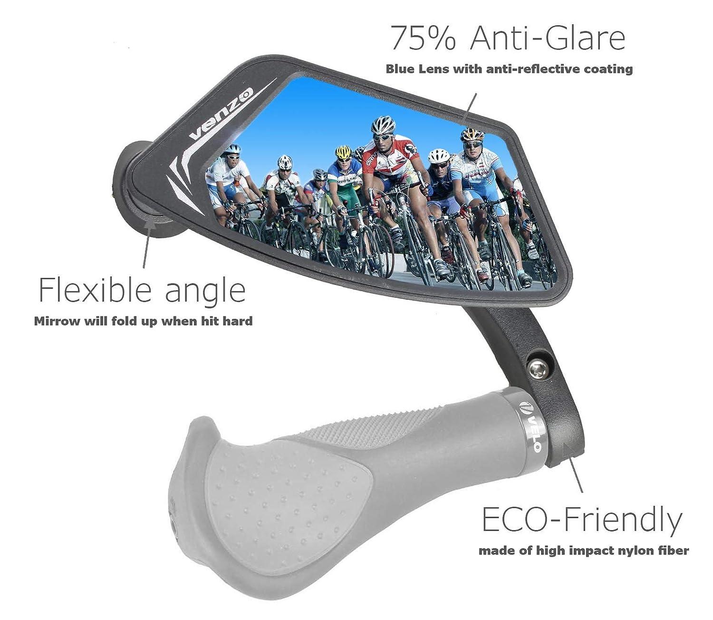 Venzo Bicycle Bike Handlebar Safe Stainless Steel or Anti-Glare Glass Mirror