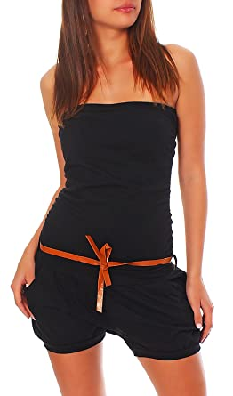 df076ed7392 Malito Short Jumpsuit with Belt Playsuit Sleeveless Romper Party Bandeau  Elegant 8964 Women One Size (Black)  Amazon.co.uk  Clothing