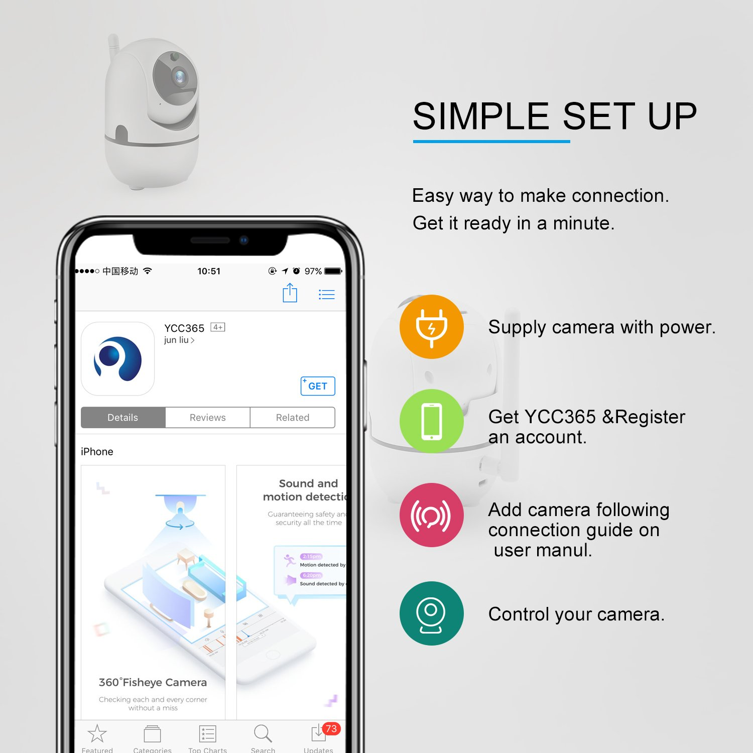 Wireless MINI Smart Camera Cloud Storage IP Camera 30 Days Free Cloud Storage Service,1080P Home Security Camera Motion Automatic Tracking/Two Way audio/Night Vision/Mobile View/ Baby Pet Monitor(1080P)