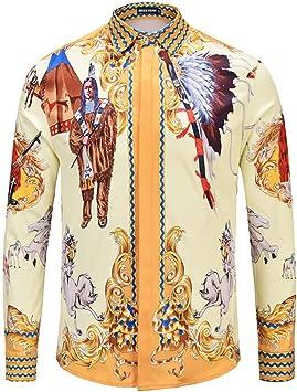CHENS Camisa/Casual/Unisex/M Camisa de Hombre de Moda impresión de Caballos Indios Western Cowboy Night Club Tops Ocio Hiphop Retro de Manga Larga de algodón: Amazon.es: Deportes y aire libre