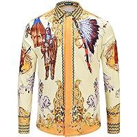 CHENS Camisa/Casual/Unisex/tamaño Camisa de Hombre Moda impresión Caballos