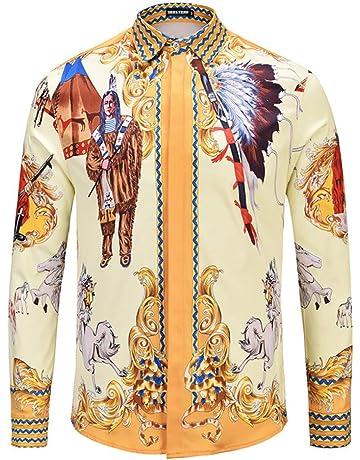 CHENS Camisa//Camisetas//Casual//Camisa de Primavera para Hombre Personalidad de la Moda Estampado de Cadena de Oro Negro Camisa de Manga Larga para Hombre