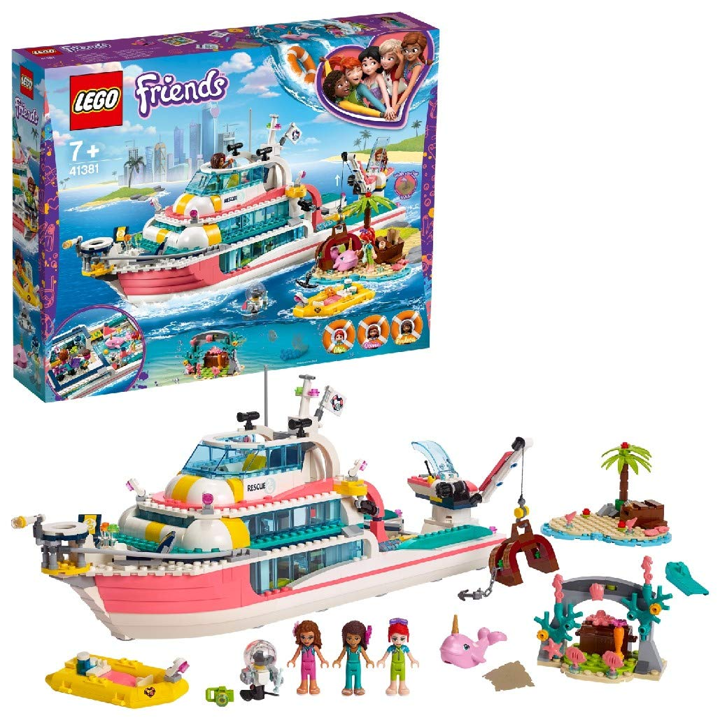 LEGO 41381 Friends Rescue Mission Boat Island Toy for Kids with Olivia, Andrea and Mia Mini Dolls, plus Robot and Whale Figures
