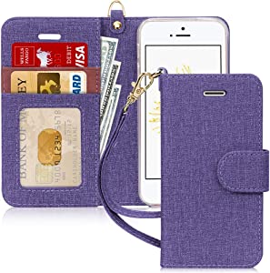 FYY Case for iPhone SE (1st gen-2016)/iPhone 5S/iPhone 5, [Kickstand Feature] Luxury PU Leather Wallet Case Flip Folio Cover with [Card Slots][Wrist Strap] for iPhone SE (1st gen-2016)/5S/5-DarkViolet