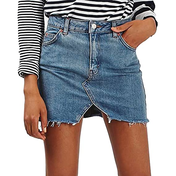 Elegant Rock für Damen Abnehmen Bleistiftröcke Einfarbig Casual A Linie Kurz Skirt Minirock Jeansrock mit Taschen für Frühling Sommer