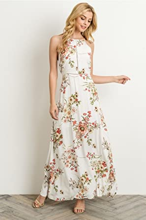 6cce2aa987 Gilli Cream Floral Maxi Dress (Medium) at Amazon Women s Clothing store
