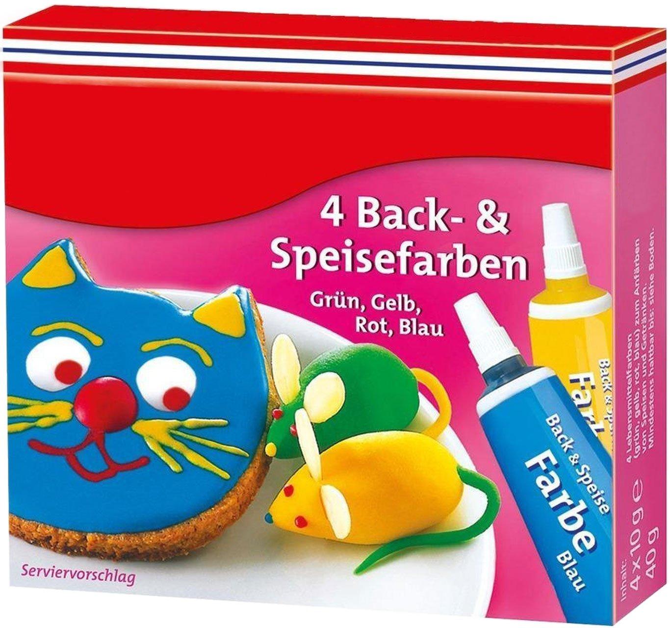 Lebensmittelfarbe, 4er-Pack rot, gelb, blau, grün: Amazon.de ...