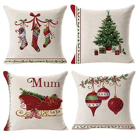 Gspirit 4 Pack Retro Navidad Algodón Lino Throw Pillow Case Funda de Almohada para Cojín 45x45 cm
