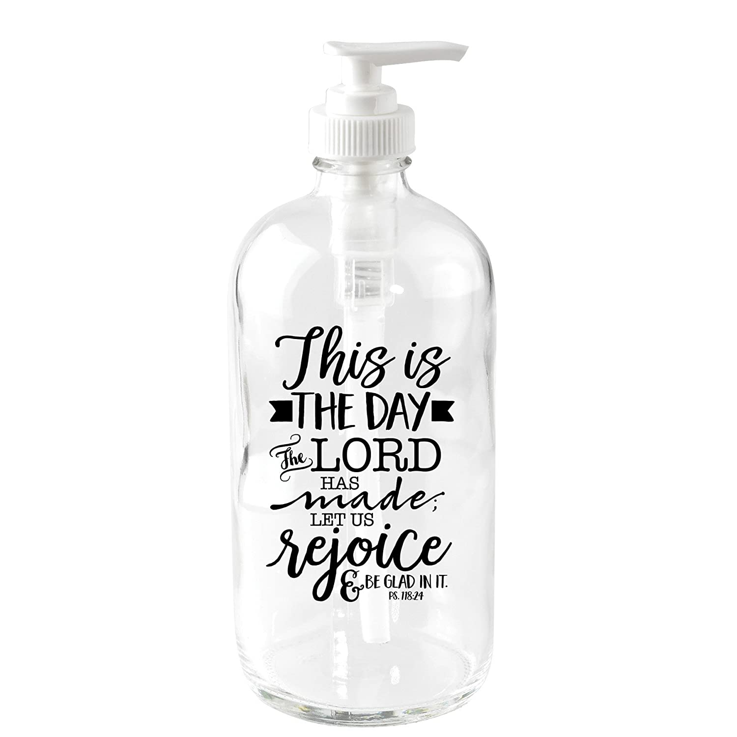 This is The Day 16 oz Glass Soap Dispenser Dexsa DX5170
