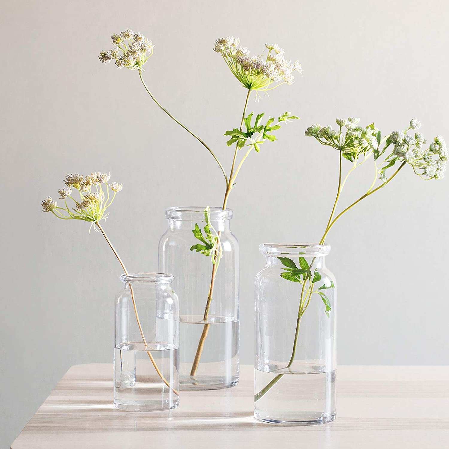 CASAMOTION Vases Hand Blown Art Glass Vase, Practical Centerpiece Vases for Table, Set of 3, Clear