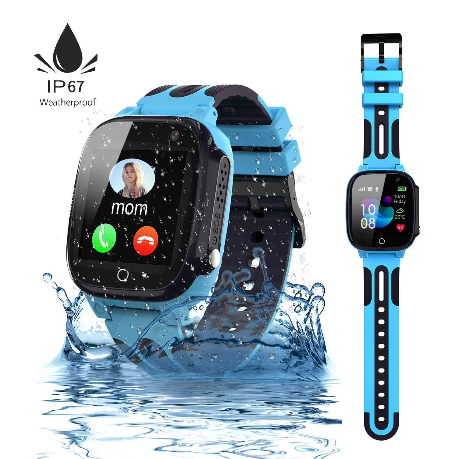 Jsbaby Kids Smartwatch LBS/GPS Tracker Phone with IP67 Waterproof Smartwatch Two Way Calls Game Watches for Boys and Girls Compatible iOS Android 2G ...
