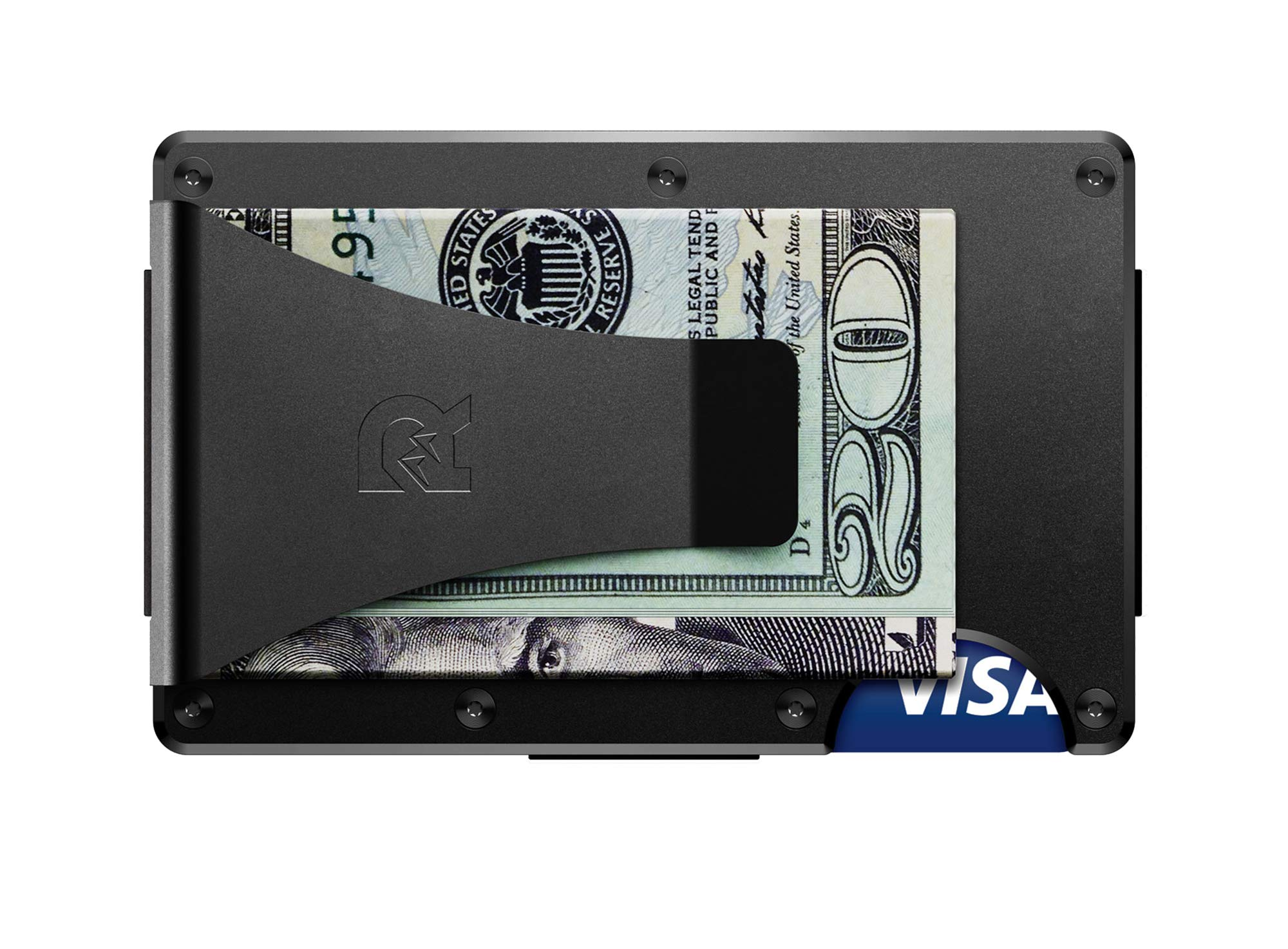 The Ridge Authentic Minimalist Metal RFID Blocking Wallet - Money Clip (Black)