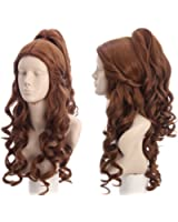 Topcosplay Women Wigs Curly Brown Halloween Costumes Cosplay Wig Wave with Ponytail
