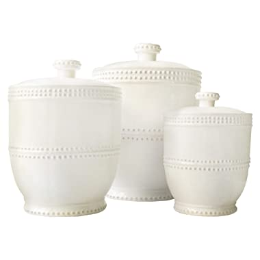 American Atelier 1566905CANRB Bianca Bead Canister Set 3-Piece Ceramic Jars Chic Design With Lids for Cookies, Candy, Coffee, Flour, Sugar, Rice, Pasta, Cereal & More, 18.50x7.75x9.8 , White