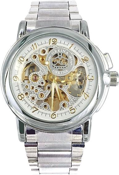 2015 marca de lujo para mujer relojes esqueleto Dial redondo