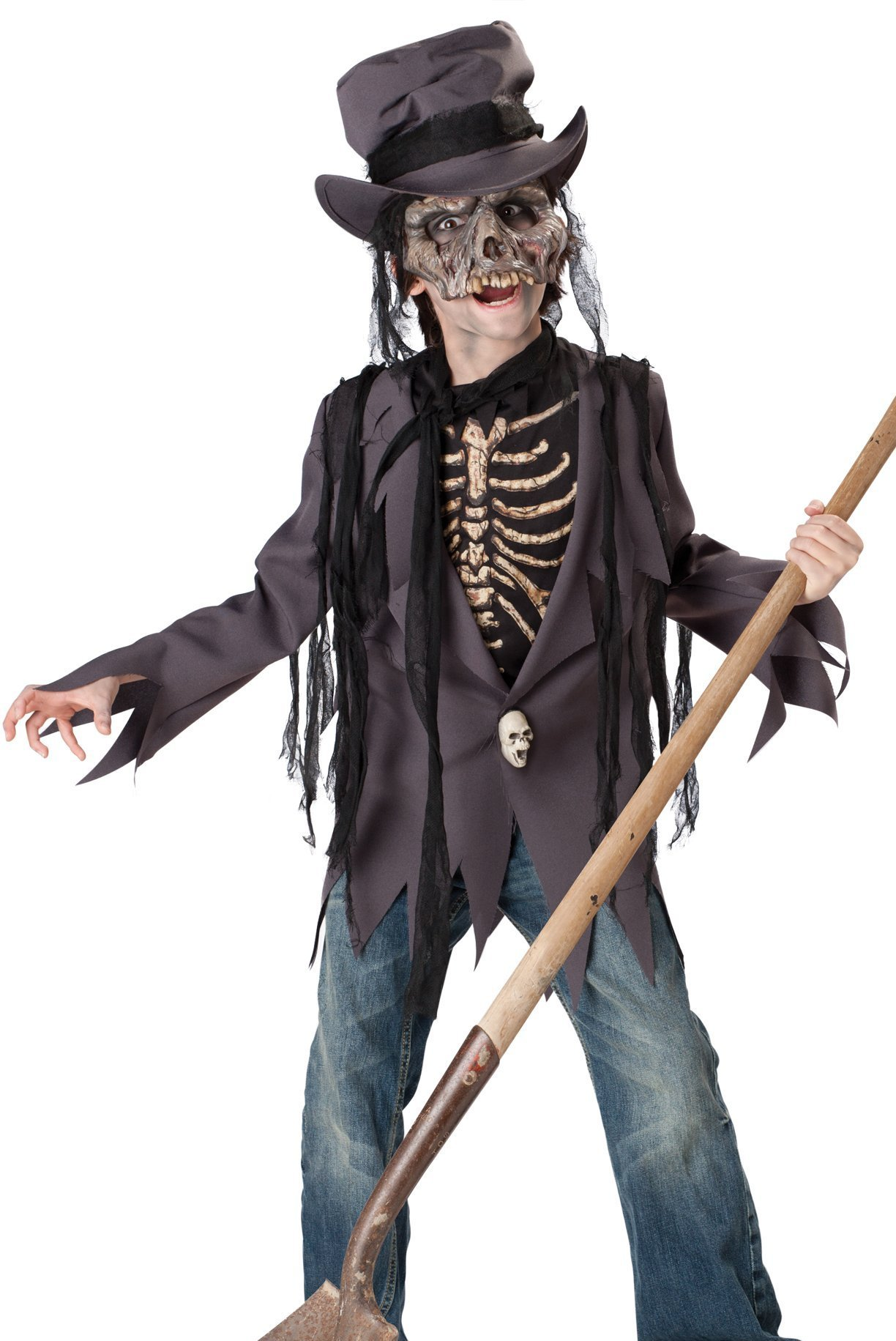 In Character Kids Boys Scary Zombie Skeleton Grave Robber Costume L