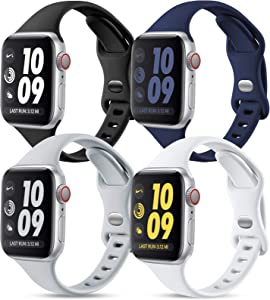 GEAK 4 Pack Slim Bands Compatible with Apple Watch 40mm 38mm iWatch SE for Women Men, Soft Silicone Sport Replacement Band Compatible with iWatch Series 6 5 4 3 2 1, Black/White/Gray/Navy