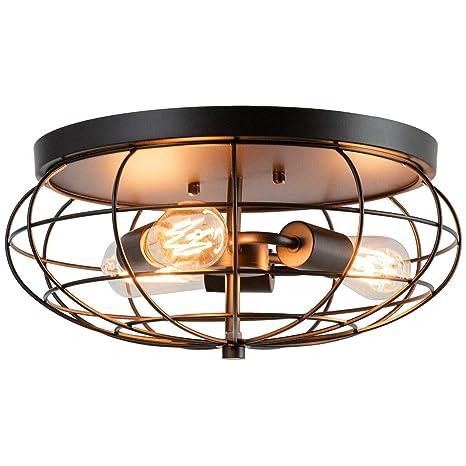 Tangkula Semi Flush Mount Ceiling Light 3 Light Industrial Retro Style Rustic Pendant Lighting Lamp With Unique Iron Metal Cage Lampshade Black