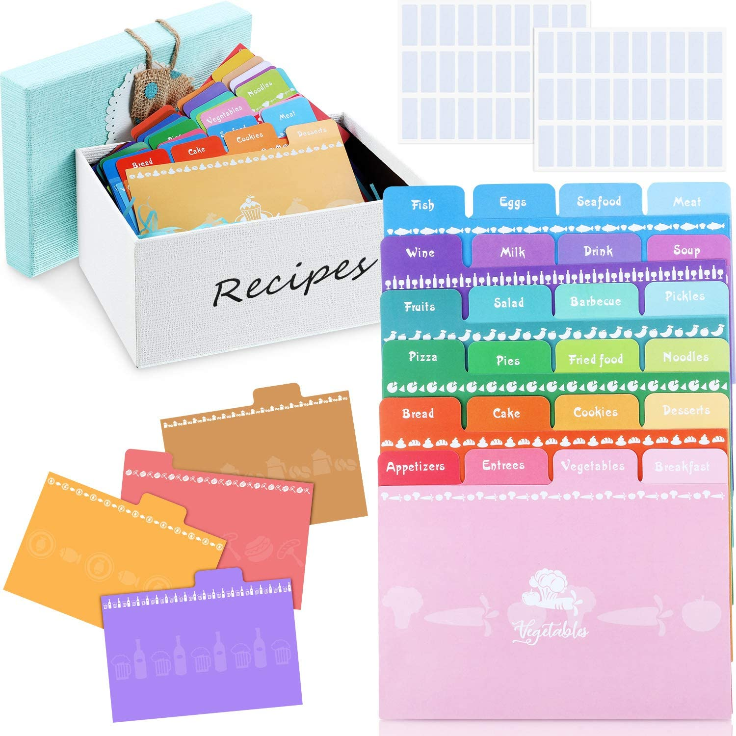36 Pieces Recipe Card Dividers Tabs Include 24 Labelled and 12 Blank Tabs 60 Adhesive Labels Work with 4 x 6 Inch Cards for Recipe Box Organize, Rainbow Color Style