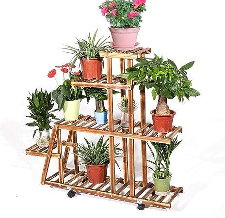 5 Ebenen Holz Pflanzentreppe Pflanzregal Blumentreppe Blumenregal 96x95x25cm Neu