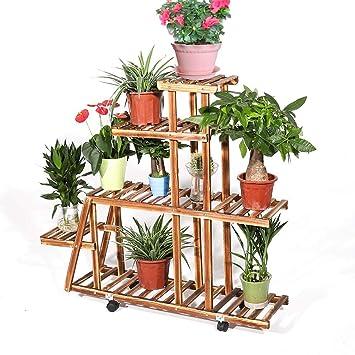 UNHO Soporte de Madera para Flores con Ruedas Estantería para Macetas con 5 Niveles Estantería Decorativa de Plantas Macetas para Exterior Interior Jardín ...