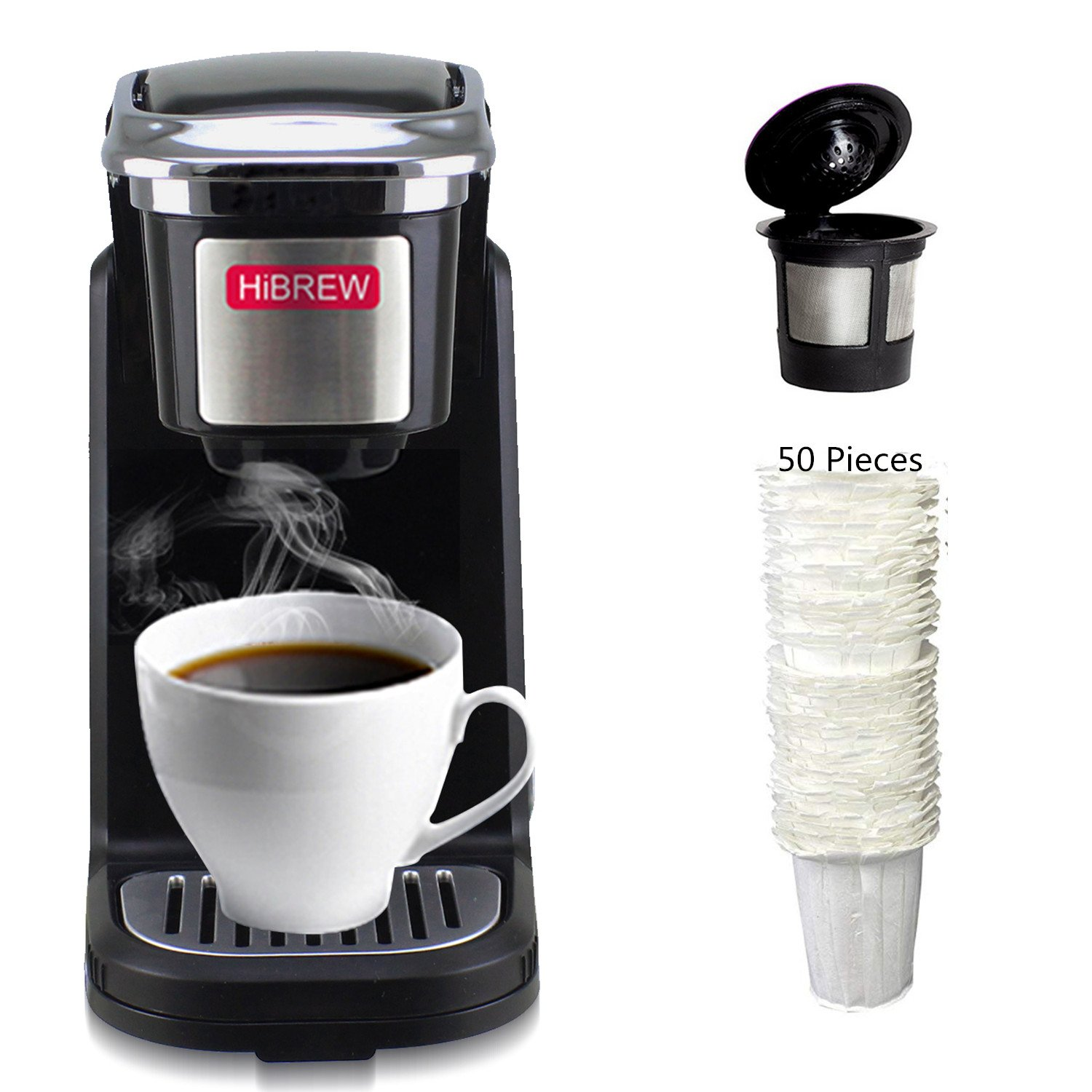 HiBREW Black Single Serve Compact K Cup Coffee Maker for Travel Camping Compatible with K Cup and Ground Coffee (including Reusable K Cup and 50 Disposable Filters)