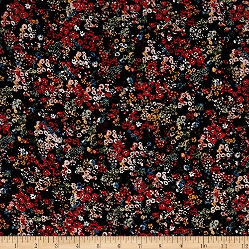 Hugo Boss Viscose Crepe Floral Black Multi Fabric By The Yard -