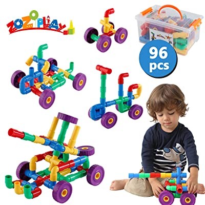 ZoZoplay STEM Learning Toy Tubular Pipes & Spouts & Joints 96 Piece Build Bicycle, Tank, Scootie, Moter Skills Endless Designs Educational Building Blocks Set for Kid Ages 3+ Multicolor: Toys & Games [5Bkhe1803059]